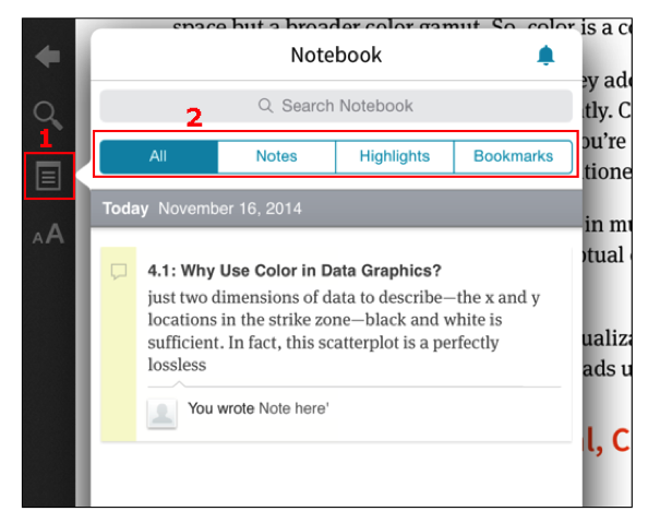On Inkling, clicking the notebook icon in the left-hand navigation opens to a notebook with a filter across the top.