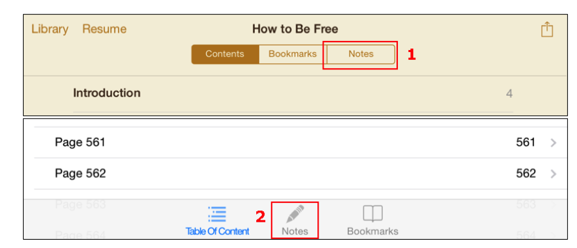 A screenshot of the notebook icons in iBooks and Coursesmart.