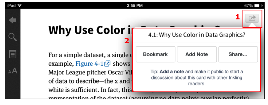 bookmark feature on Inkling