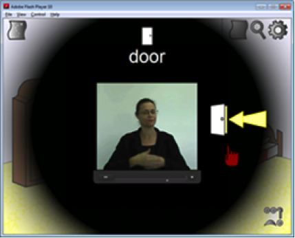 Screenshot of a video flashcard, with a woman signing in the middle of the screen.