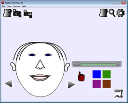 A drawing of a face on a screen with color icons and a pointer.