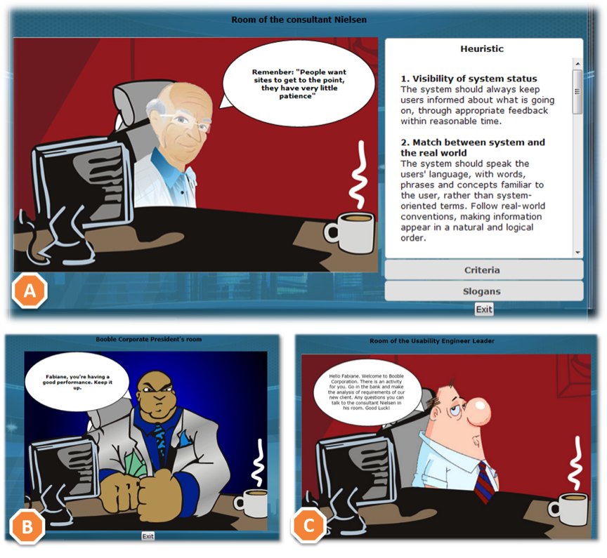 Brightly colored cartoonish character with speech bubbles instructing the player. A window on the right shows heuristics for visibility of