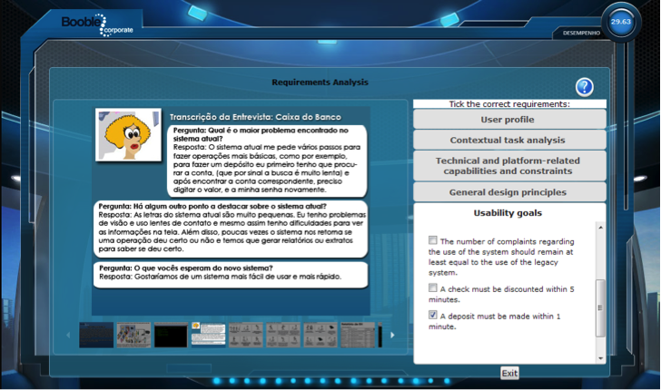 A screenshot from the game where the player must check off the correct requirements.