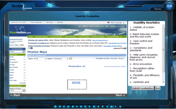 A screenshot of a weather website for players of the game to practice  a heuristic evaluation