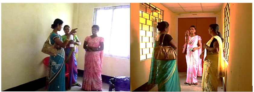 Two images of three women standing together in small rooms, with one moderating a study.